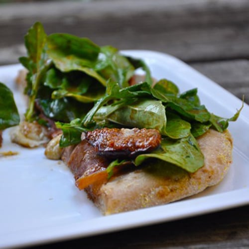 Fig, Prosciutto, Gorgonzola Pizza Topped With Balsamic Arugula Salad