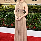 Kate chose a stunning Valentino gown in a neutral shade for the 2016 SAG Awards, but it got an edgy touch from two black straps.