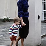 Princess Diana led William by the hand on his first day of school in 1985.