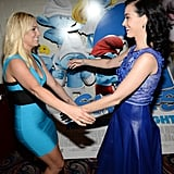 Pop stars Britney Spears and Katy Perry joined forces at the LA premiere of The Smurfs 2 on July 29.