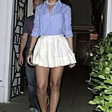 Her chambray shirt added a masculine touch to her classic pearls and Twenty8Twelve linen skirt in February 2009.