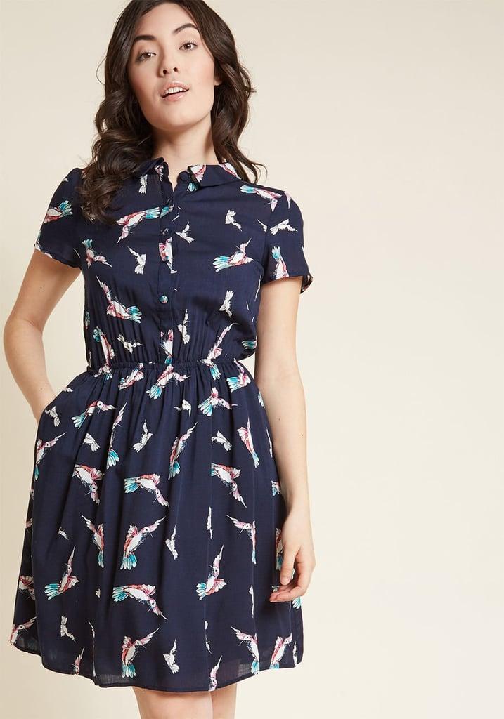 Joyfully Committed Shirt Dress in Navy Birds