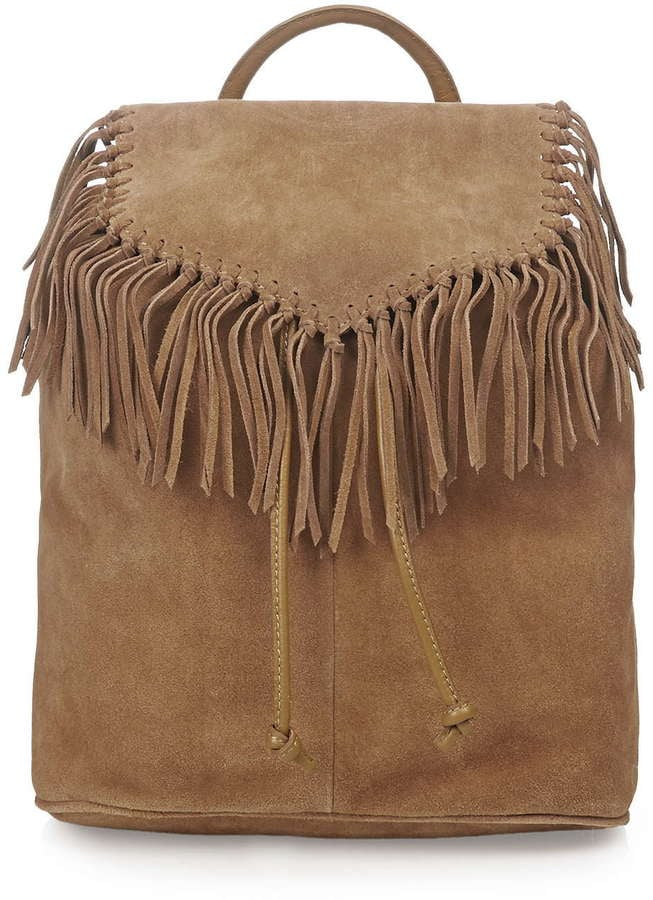 Suede fringe backpack ($125)