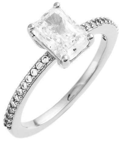 Nadri Prong Set Emerald Cut CZ & Pave Ring