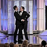 Jimmy Fallon danced with Adam Levine at the 2012 Golden Globe Awards.