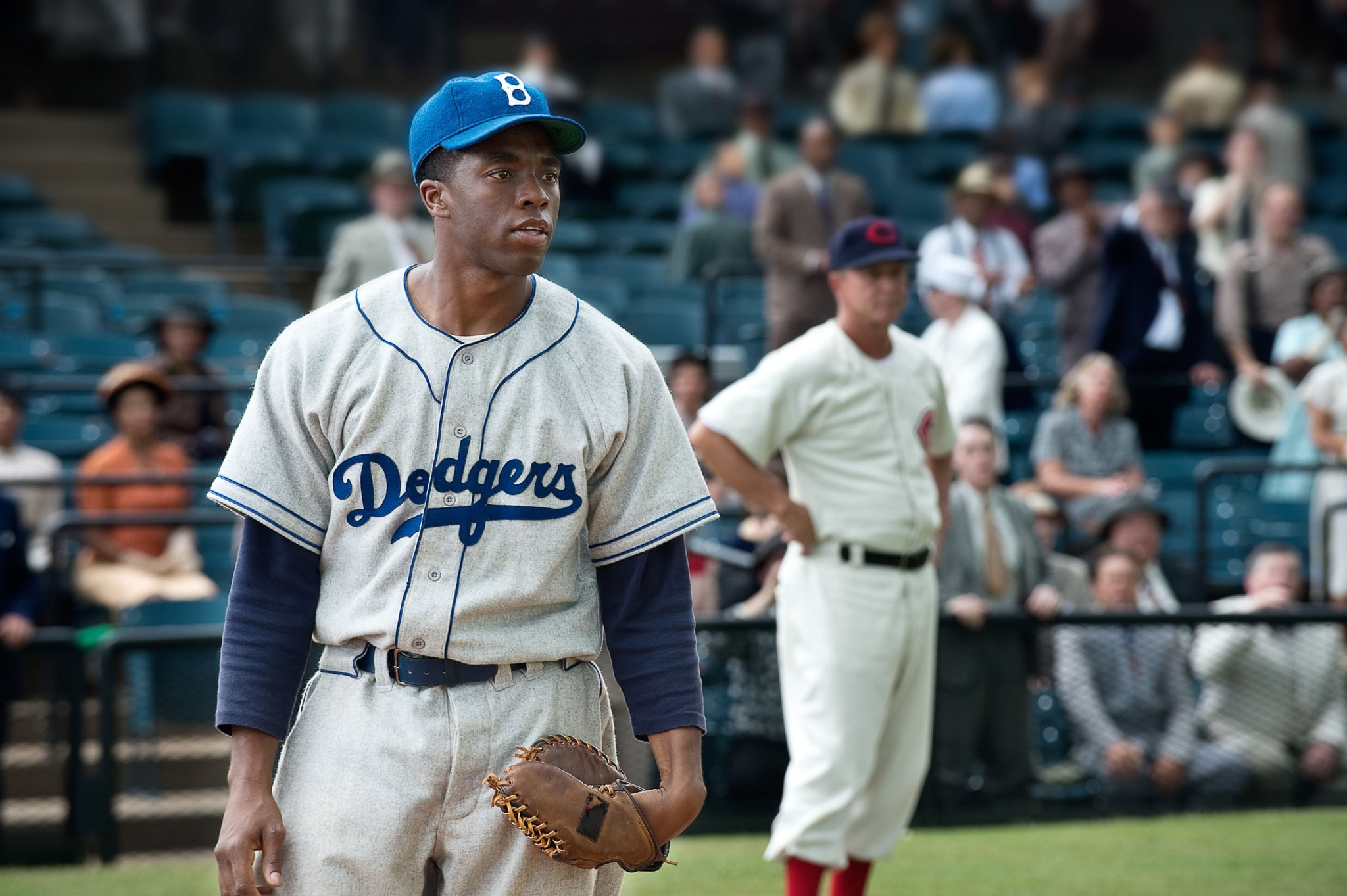 42, (aka FORTY-TWO), Chadwick Boseman as Jackie Robinson, 2013. Ph: D. Stevens/Warner Bros. Pictures/courtesy Everett Collection