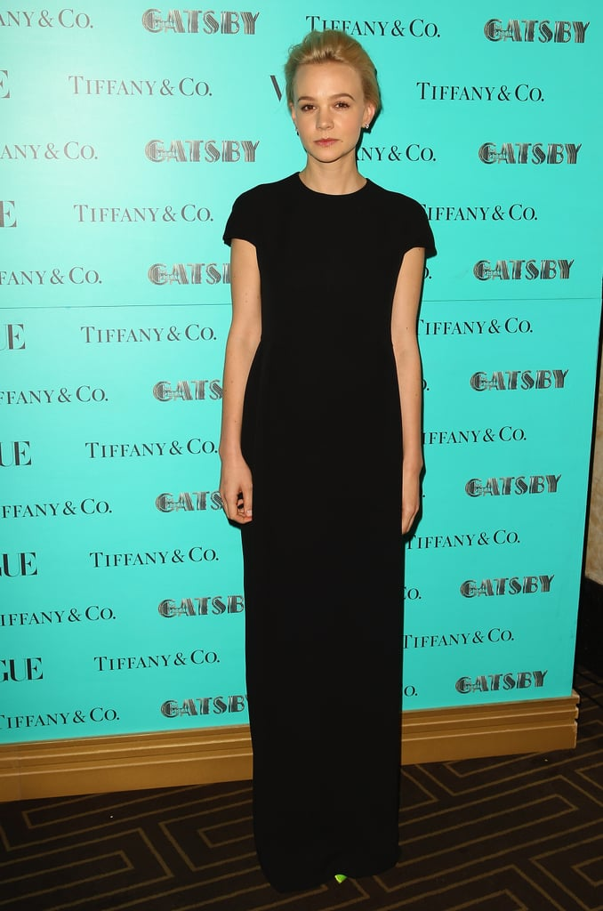 Carey Mulligan was the epitome of minimalistic chic in a black short-sleeved Dior gown at the Tiffany & Co. dinner in honour of The Great Gatsby in Sydney.