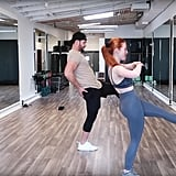 . . . then get into a standing position while bringing your opposite foot up and out in front of you. Do this eight times.