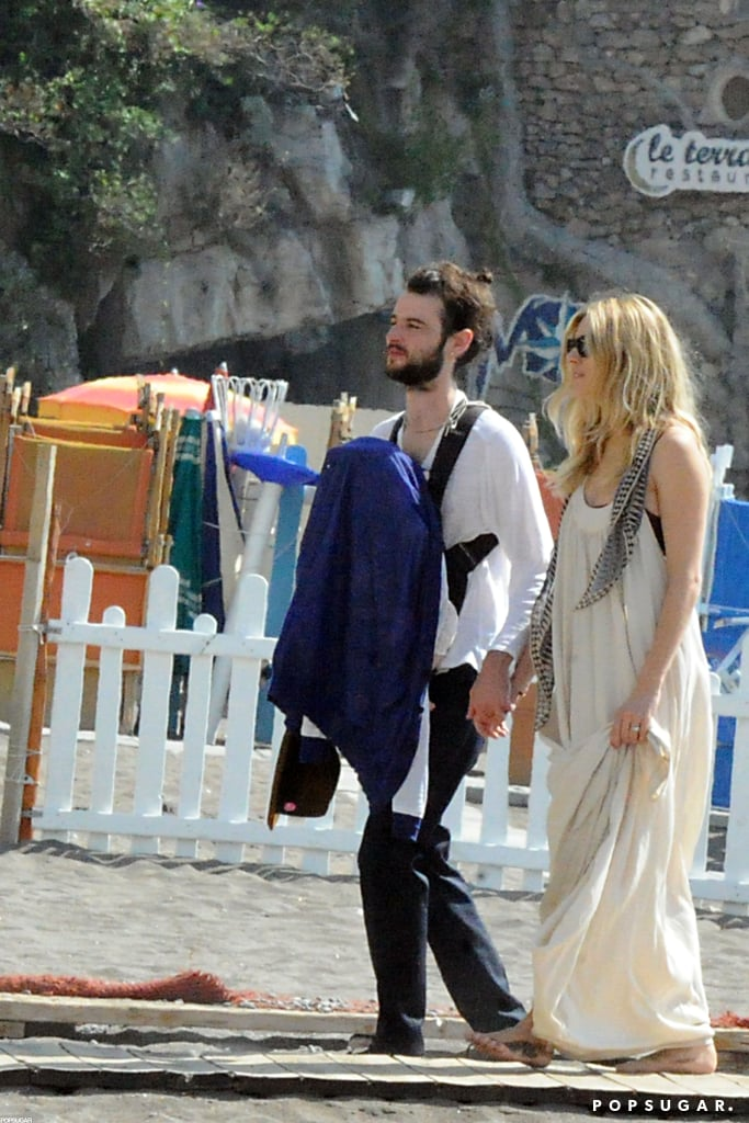 Tom Sturridge and Sienna Miller brought baby Marlowe Sturridge with them to Positano.