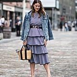 Belt a Ruffled Dress and Style It With Kitten Heels and a Denim Jacket