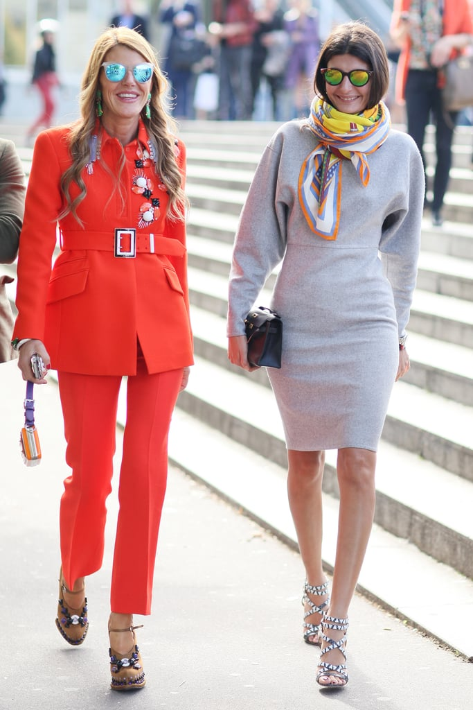 Anna Dello Russo and Giovanna Battaglia made the coolest kind of fashion duo, both with mirrored shades.