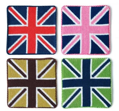 Any globe-trotter will appreciate the bold twist on the classic Union Jack on this British Flag Coaster Set ($48).
