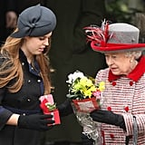 With her grandmother Queen Elizabeth II at Sandringham on Christmas Day in 2008.
