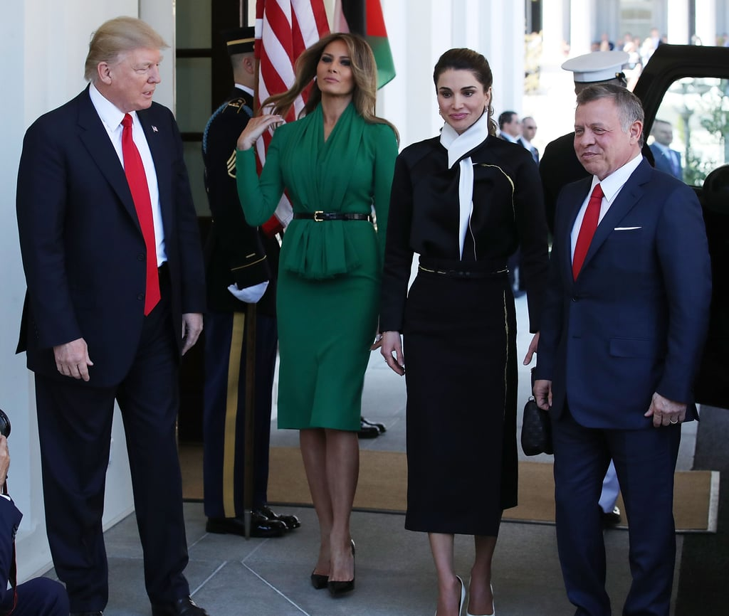 Melania Trump's Green Dress With Queen Rania