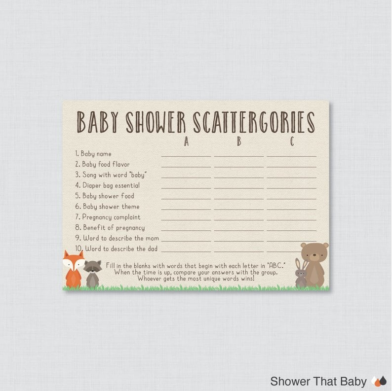 photograph relating to Printable Scattergories named Woodland Boy or girl Shower Printable Scattergories Sport