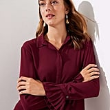 LOFT Pleated Cuff Utility Blouse