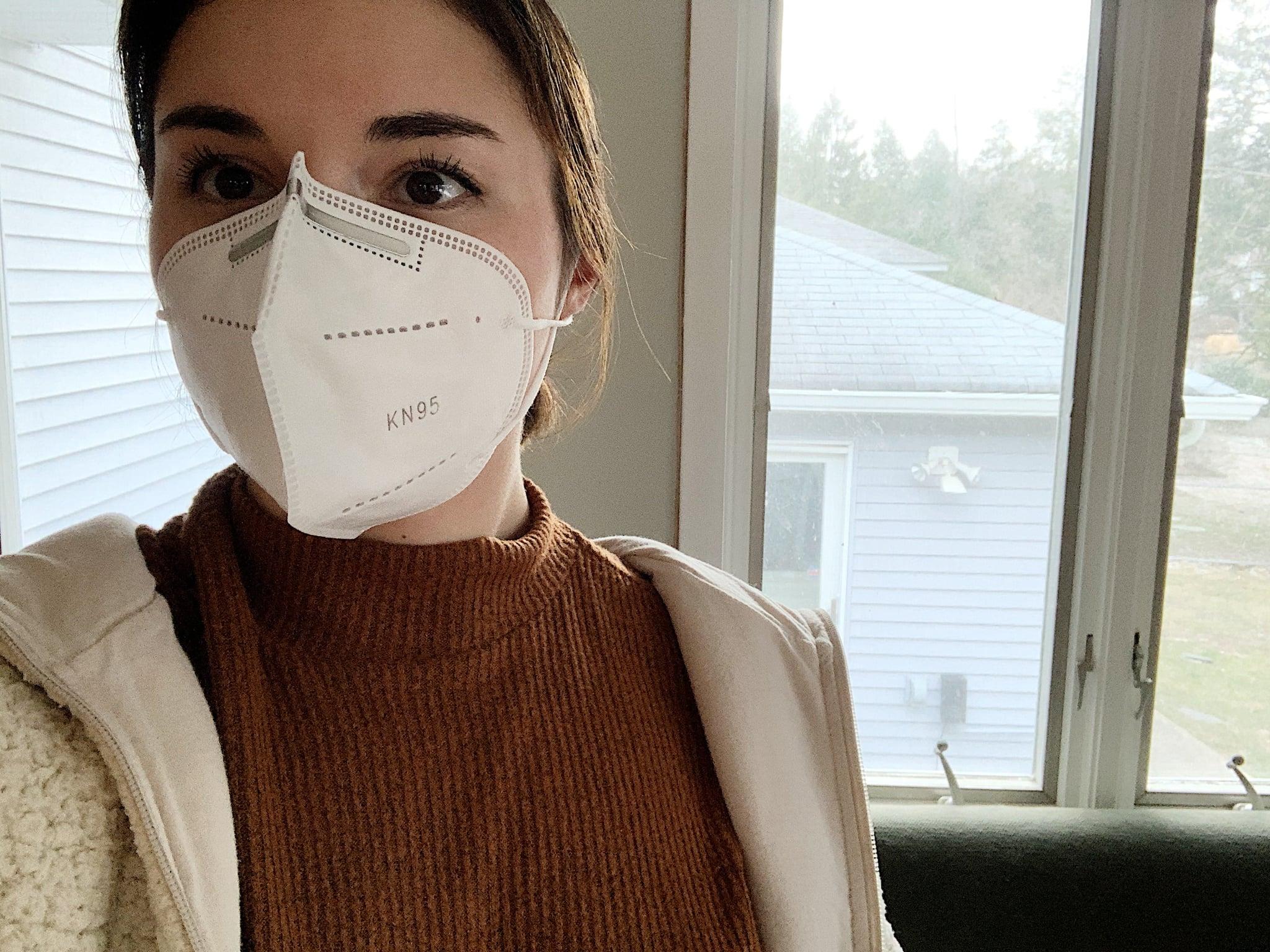 POPSUGAR editor wearing an KN95 mask