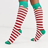 ASOS Design Holidays Elf Knee-High Socks