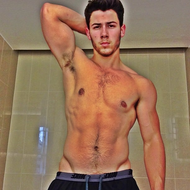 """Nick Jonas shared this very revealing selfie to show off the results of his """"healthy living and fitness."""" Source: Instagram user nickjonas"""