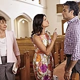 Ivonne Coll as Alba, Andrea Navedo as Xo, and Jaime Camil as Rogelio.