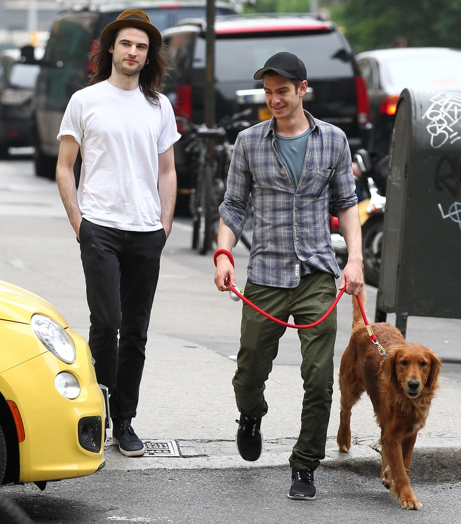 Tom Sturridge and Andrew Garfield walked down the street together.