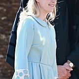 Sophie showed up smiling in powder blue for her goddaughter Charlotte's christening.