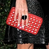 A closer look at Nicky's jeweled clutch.