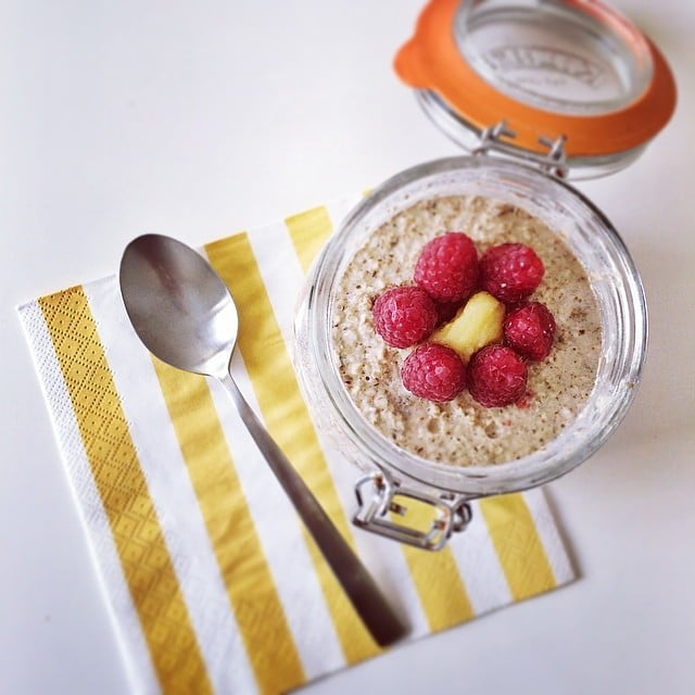 Overnight oats in a jar —oh my! Aside from the oats, this jar is filled with the goodness of chia, banana, raspberries, and pumpkin seeds.