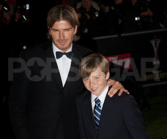 Slide Picture of David Beckham and Brooklyn at Millie Awards in London