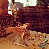 Hattie McDermott proved she's definitely her mother's daughter flipping through Martha Stewart Living. Source: Instagram user torianddean