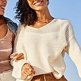 Old Navy Slouchy Crochet V-Neck Sweater