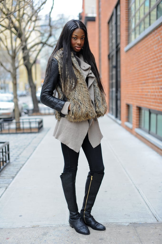 The coziest layers juxtaposed with slick leather.