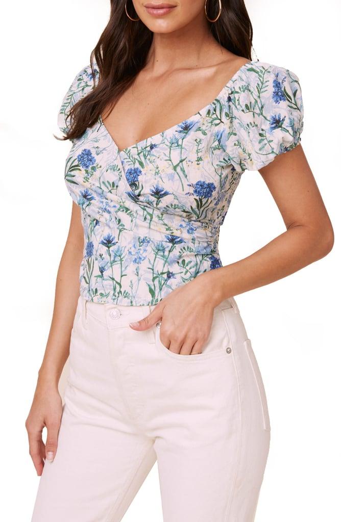 ASTR the Label Floral Surplice Linen & Cotton Crop Top