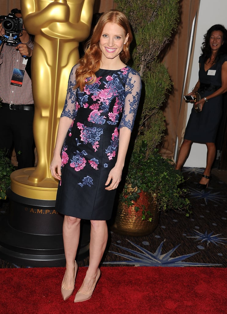 Bridal showers are the perfect time to put your floral prints on display, just like Jessica Chastain did in her floral Erdem dress at the Academy Awards nominees luncheon in Beverly Hills.