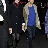 Anne Hathaway and Adam Shulman held hands as they walked.