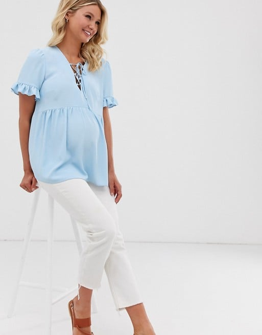 ASOS DESIGN Maternity 3/4 sleeve smock top with lace up detail | ASOS