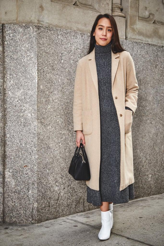 On Assistant Editor Marina Liao Topshop Coat Zara Dress Givenchy Fashion Week Editor Street