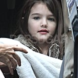 Suri Cruise smiled on a princess day in NYC.