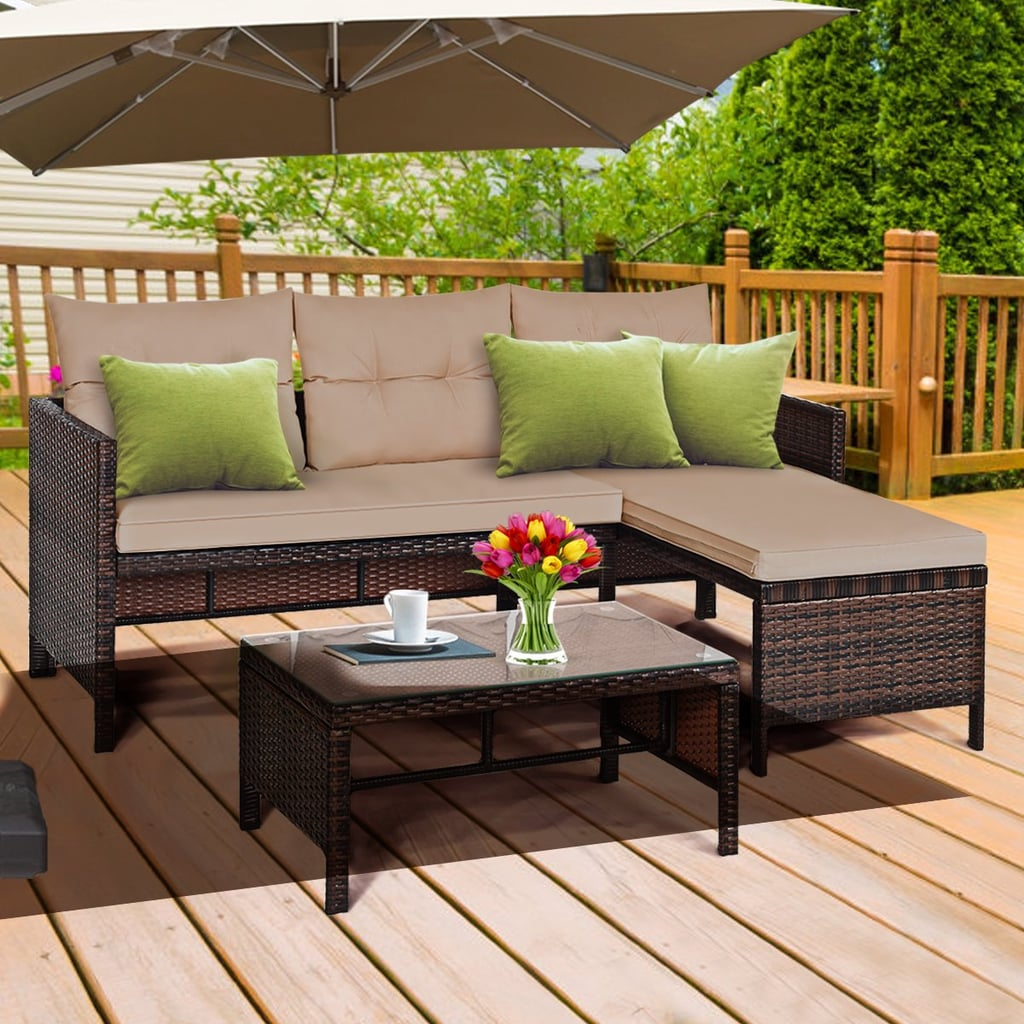 Gymax 3-Piece Rattan Furniture Set