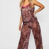 Plus Gemma Collins Chiffon Leopard Lace Trim PJ Set
