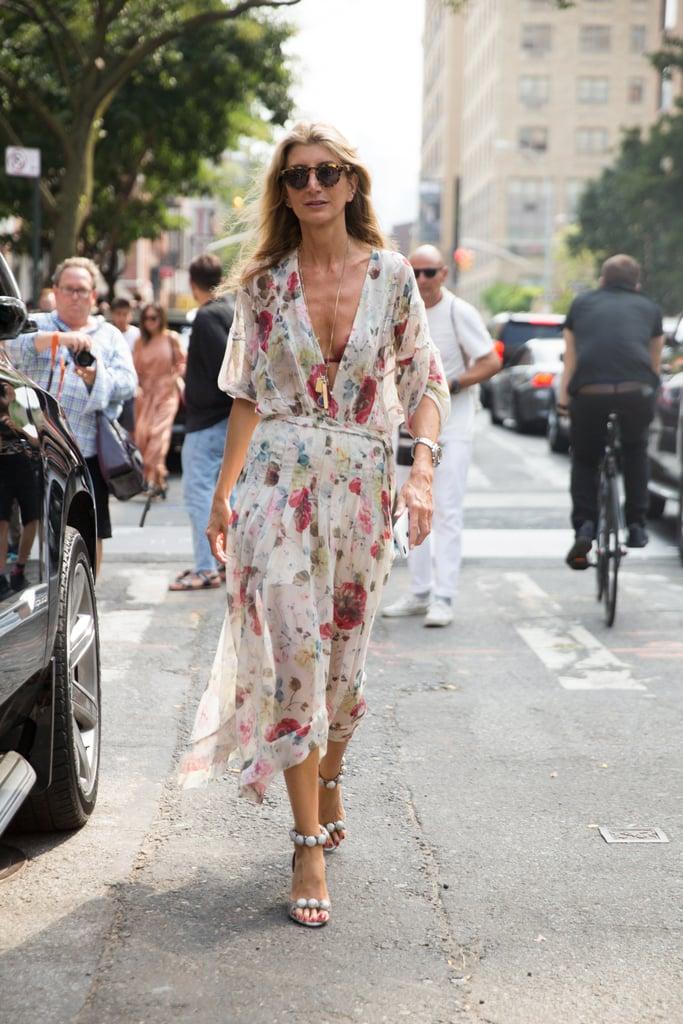 Sarah Rutson wearing Alaïa shoes at New York Fashion Week