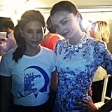 Vogue senior fashion editor Christine Centenera hung out with Miranda Kerr backstage at FNO. Source: Twitter user vogueoz
