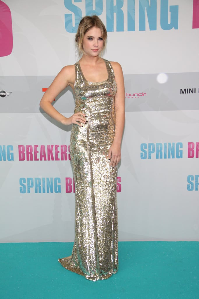 Ashley Benson posed in a gold gown.