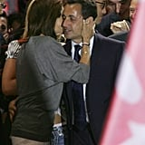 Sarkozy got a kiss from his former wife during the last campaign.