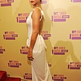 Rihanna wore a long white gown.