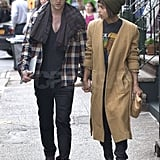 Zoe Kravitz and Penn Badgley held hands.