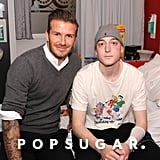 David Beckham visited the Teenage Cancer Trust's Young Persons Unit at Queen Elizabeth Hospital in Birmingham, UK.