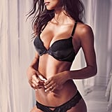 Faux Leather and Lace Push-Up Bra, $65 and Cheekini Panty, $24