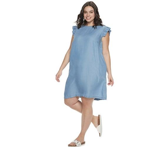 POPSUGAR Plus Size Ruffle Sleeve Dress | Cute Dresses For