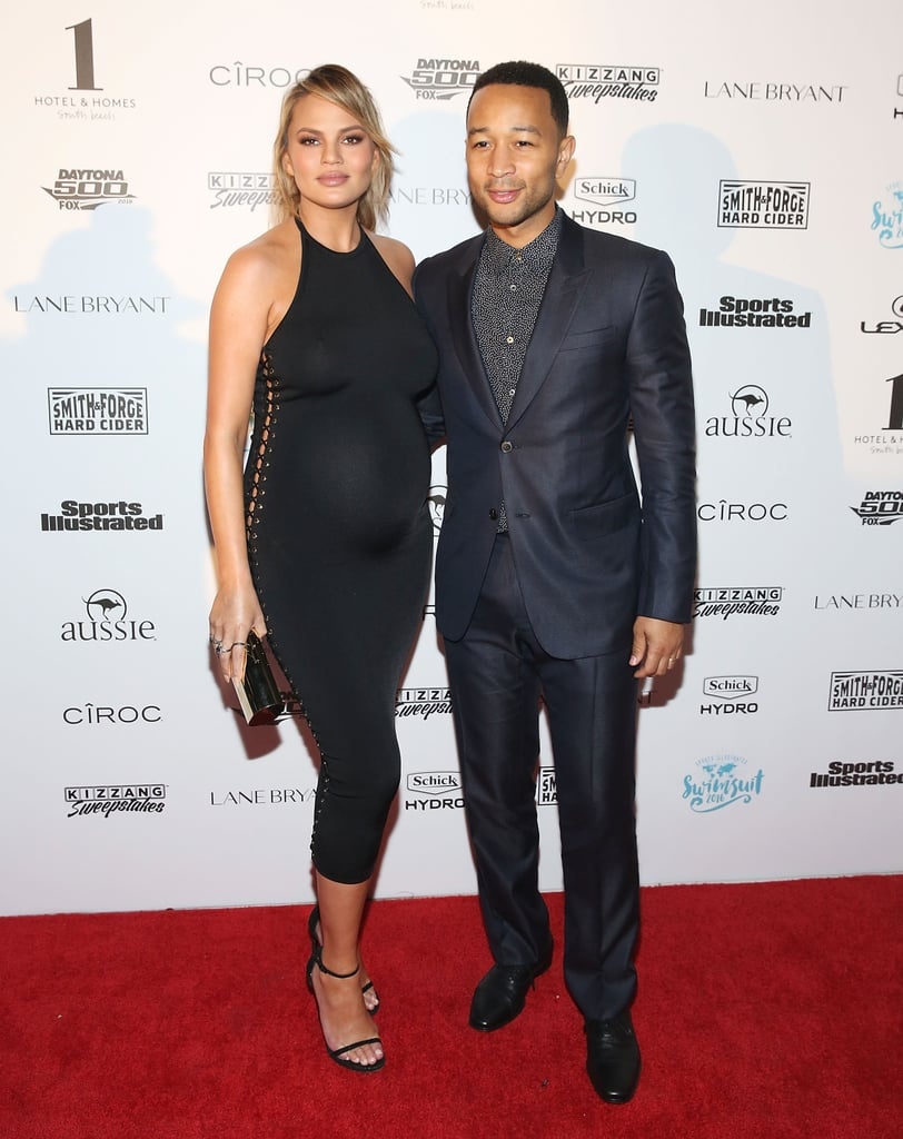 Chrissy kept it sleek, simple, and sexy at Sports Illustrated's red carpet to promote the new 2016 Swimsuit Issue, wearing a black halter-neck lace-up midi and heels.
